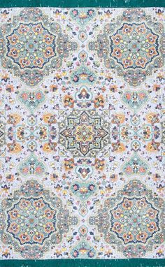 StewardPA02 Flatweave Cotton Mosaic Lotus Medallion Tassel Rug