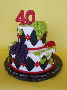 Wine Themed 40th Birthday Cake by CakesUniqueByAmy.com, via Flickr