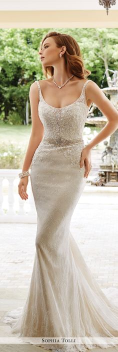 Sophia Tolli Fall 2016 Wedding Gown Collection - Style No. Y21660 Verona - sleeveless lace sheath wedding dress