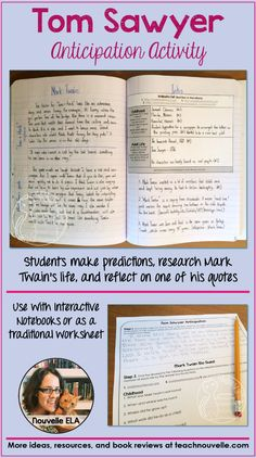 In this intro activity to The Adventures of Tom Sawyer, students do a pre-reading activity for the novel, research some biographical information on Mark Twain, and respond to one of his quotes. It is compatible with Interactive Notebooks or can be used as a traditional handout. (grades 6-10)