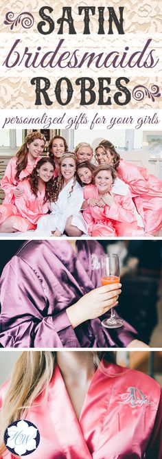 "These Personalized Satin Bridesmaid and Bridal Robes are perfect for your entire bridal party! you'll love the adorable ""getting ready"" pictures. You can personalize them with titles on the back and initials on the front. You can also do just initials or just titles. Pick from a variety of colors. Order now and receive 10% off using coupon code ""lifematters"" at checkout!"