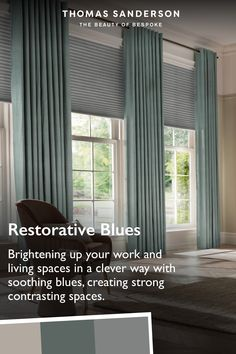 Bring restorative blues into your living room. Brighten up your living space in a clever way with soothing blues to create a beautiful contrasting space. See our range of blue curtains.