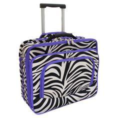 All-Season Fashion Print Women's Rolling 17-inch Laptop Case - Purple Zebra Trim