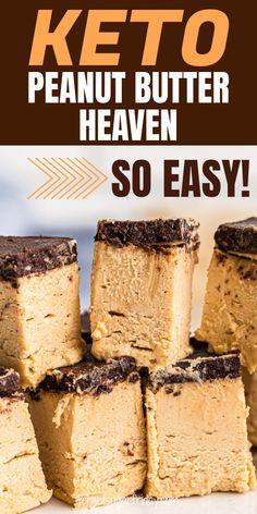 Peanut Butter Dessert Recipes, Desserts Keto, Keto Friendly Desserts, Keto Dessert Easy, Easy Desserts, Snack Recipes, Dinner Recipes, Low Carb Peanut Butter, Dessert Simple