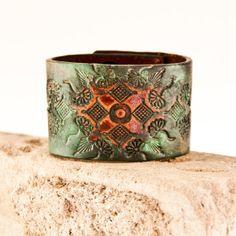 Eco Friendly Bracelet Jewelry Leather Cuff by rainwheel, $55.00