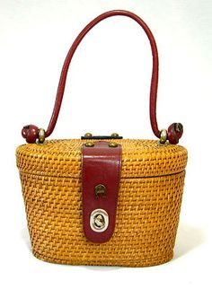 Vintage 60's Etienne Aigner  wicker and leather handbag.