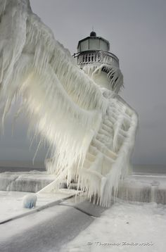 Frozen Lighthouse in Michigan.