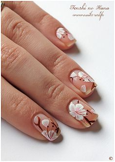 Tenshi no Hana nail art: Flowers on clear.