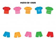 Match t shirts and shorts by color. game for kids. Color Worksheets For Preschool, Preschool Colors, Worksheets For Kids, Abc Games For Kids, Educational Games For Kids, Kids Learning, Education Banner, Education Logo, Color Games