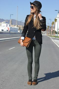 Street Style. Black hat and blazer with elbow detail, white dress shirt underneath, olive green skinny pants and moccasins