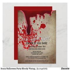 Bloody Halloween, Modern Halloween, Scary Halloween, Vintage Halloween, Happy Halloween, Halloween Ideas, Adult Halloween Invitations, Halloween Party Costumes, Halloween Cards