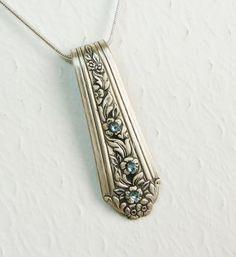Vintage spoon necklace with ice blue Swarovski Crystals.