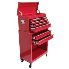 excel international tb-220 eight drawer roller metal tool box in red $198