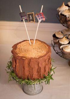 Lumberjack themed first birthday party - tree stump smash cake