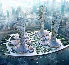Amorphou Studio proposes symbiotic towers in response to Dubai's climatic conditions. Read the full article and see more images on News - Architecture and Home Decor - Bedroom - Bathroom - Kitchen And Living Room Interior Design Decorating Ideas - Organic Architecture, City Architecture, Concept Architecture, Futuristic Architecture, Beautiful Architecture, Chinese Architecture, Contemporary Architecture, Futuristic City, Futuristic Design