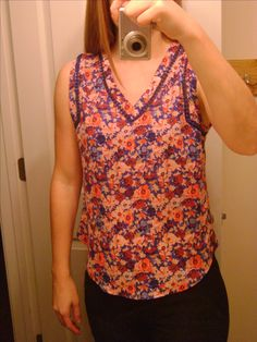 Stitch Fix #12, 41 Hawthorn Carla Crochet Detail Blouse. Love the print but the arms holes were too big and the blouse was too short