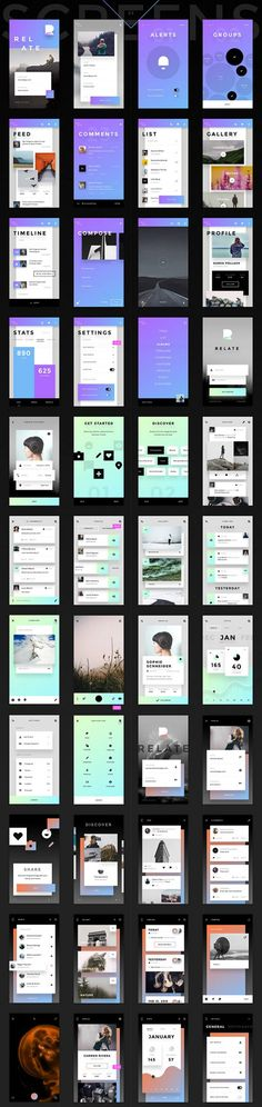 Free UI Kit: Relate by Invision - UI UX This week, our friends over at Invision are offering a free UI kit called: Relate for us to play around and mostly create prototypes and experime - Web Design, Design Sites, Ios App Design, Android Design, Flat Design, Dashboard Design, Graphic Design, Application Ui Design, Application Mobile