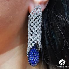 """Karen Suen Fine Jewellery. A delicate diamond lace, wrapped around our invisible set sapphire drop from our latest """"Sapphire Collection"""". #Designer #BespokeJewels #PreciousStones #FineJewelry #JewelleryDesigner #HauteJoaillerie #UniqueJewellery #Gemstone #Diamond #Sapphire #BlueSapphire #HauteCouture"""