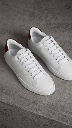 0f41be6a0ac4 Perforated Check Leather Sneakers in Optic White