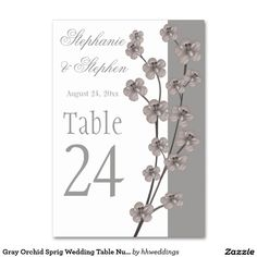 Gray Orchid Sprig Wedding Table Numbers Table Card