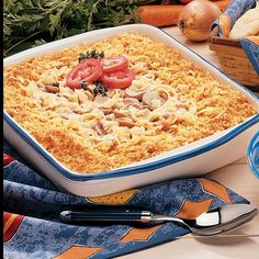 """Tuna Mushroom Bake Recipe -Tuna Mushroom Casserole is a rich-tasting main dish. The recipe was sent by Connie Moore of Medway,Ohio, who relates, """"I usually serve this casserole when I'm short on time and we need something hearty and comforting."""""""
