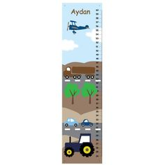 Children GROWTH CHART Transportation Canvas Growth Chart -Tractor, Plane and Truck- blue and brown. $33.00, via Etsy.