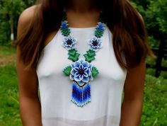 Huichol necklace Glass bead necklace Mexican tribal by BySinuhe