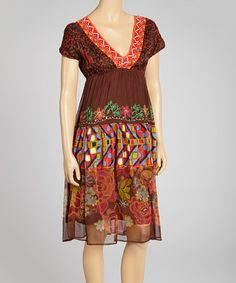 Take a look at this Brown & Orange Dress by Mystery on #zulily today!