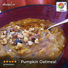 Pumpkin Oatmeal from Allrecipes.com #myplate #grain #vegetable