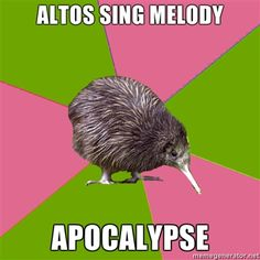 Seriously though...we had the melody in a Jingle Bells Arrangement last year and none of the other sections wanted to sing it.