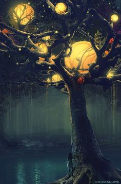 Orbs glow as golden moons over this tree in a dark forest.