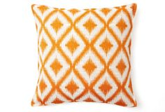 Beautiful and exotic orange print pillow