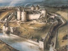 This is a painting of what the castle would have looked like in the middle ages. Look at how busy it is, castles were not just built to defend an area, they were also important centres for trade and government. If you look at the painting you can see where wooden buildings would have been inside the castle. These would have included a blacksmiths, stables, grain stores, and the great hall.
