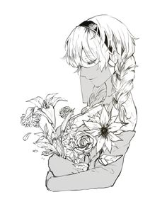 NierAutomata 6O with flowers https://twitter.com/pullssack/status/862238472093941761