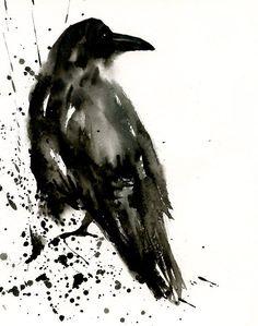 CROW Original watercolor painting 8x10inch by dimdi ...i love watercolor :)