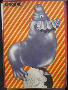 Cyrk Seal Playing Accordian Balancing On Ball / D. Zukowska 27 x 39 in (69 x 98 cm) / Zukowska, Danuta1975  1962 marks the appearance of the CRYK poster or this style of circus poster in Poland, it was for generic circus use much as  governments  around the world use  art on stamps  and not just numbers for the amount .These posters were done by the Polish state office of the ZPR (Zjednoczone Przedsiębiorstwa Rozrywkowe, or United Entertainment Entreprises)and continued into the 1980's.