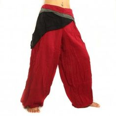 pantalones de algodón de color rojo