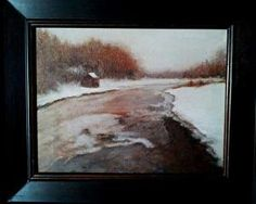 "Snowed In On Brackett Street Marsh by Pat E Nickerson Oil ~ 11"" x 14"""