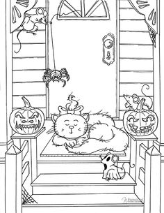 Miss Emily Halloween_small Blank Coloring Pages, Coloring Pages For Grown Ups, Dog Coloring Page, Cool Coloring Pages, Coloring Books, Halloween Scene, Halloween Cards, Mindfulness Colouring, Halloween Embroidery