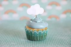 Baby Shower Theme Cloud Cupcake Toppers Rainy Day theme por Unify