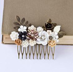 Autumn Hair Comb Floral Hair Accessory, Shabby Chic Head Piece, Rustic Elegant Hair Comb, Vintage Romantic Fall