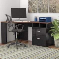 The cornerstone of a dynamic workspace, this lovely desk saves space without skimping on style. A perfect pick for contemporary aesthetics, it showcases a clean-lined frame crafted from laminate over engineer Furniture, Small Spaces, Home, Sales Desk, Home Furniture, Corner Desk, Solid Wood Desk, Desk, Corner Computer Desk