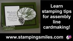 Make an earthy, easy and elegant Christmas card with the Stampin' Up! Ornamental Pine Stamp Set.  Also get a couple of tips for assembly line cardmaking too.  Order Ornamental Pine by January 5, 2014 in my online store http://www.shopwithshelly.com  Visit my stamping blog http://www.stampingsmiles.com