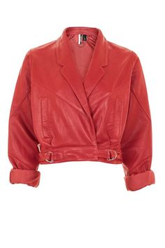 Cropped Leather Jacket UK6