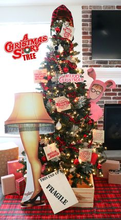 Christmas Story Party Ideas, Christmas Story Quotes, Christmas Story Movie, Christmas Parties, Xmas Party, Xmas Ideas, Ribbon On Christmas Tree, Christmas Tree Themes, Christmas Tree Toppers