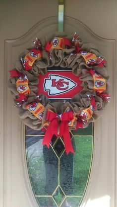 Kansas City Chiefs wreath I made. Burlap KC