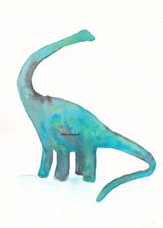 Dinosaur  Diplodocus  Art Print Watercolor   by littlecatdraw, $10.00