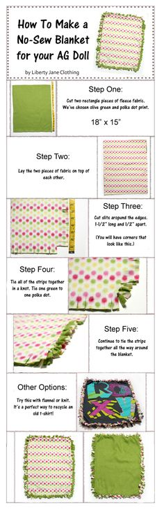 A fun and easy NO SEW blanket for American Girl ® Dolls by helen. I imagine you could do a small scale of this. I am going to try it on a monster high scale and see if it works. I'll post pics after I try it. American Girl Birthday, American Girl Parties, American Girl Crafts, American Girl Clothes, American Girls, Crafts For Girls, Diy For Girls, Kids Crafts, Doll Crafts
