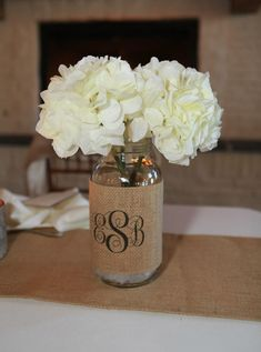 Monogram Burlap Mason Jar Sleeve - Wedding Table Decoration - Set of 2 - Size Large - Personalize