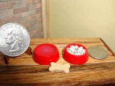 Dollhouse Miniature 1:12 Animals & Pets Bowls Water Food & Bone Treat Red #F2-5 #HandcraftedMiniaturesbyOppi